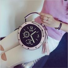 2018 Women Circle Crossbody Bag Female Leather Round Clock Shape Handbag Watches Tassels Messenger for Girls 3 Color Fashion