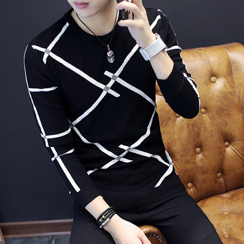 Fall And Winter  2019 Thickening Men Sweater Youth Warm Round Collar Sweater Cultivate One's Morality Striped Sweater