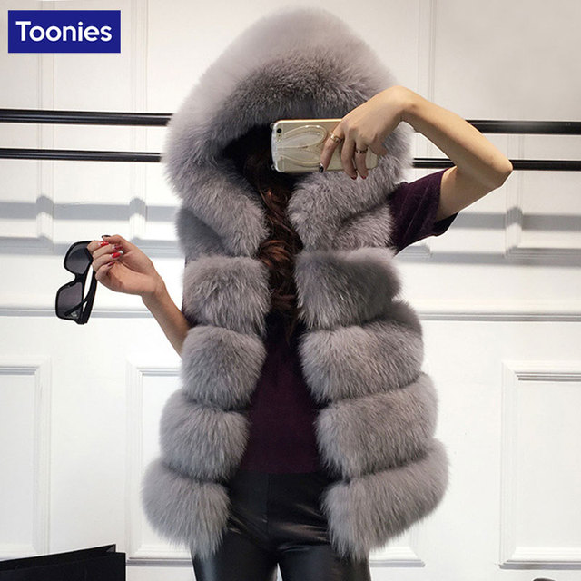 Ukarine Winter Women Faux Fur Vest Long Section Hooded Thickening Imitation Silver Fox Fur Mink Wool Coat Colete Feminino Pluse