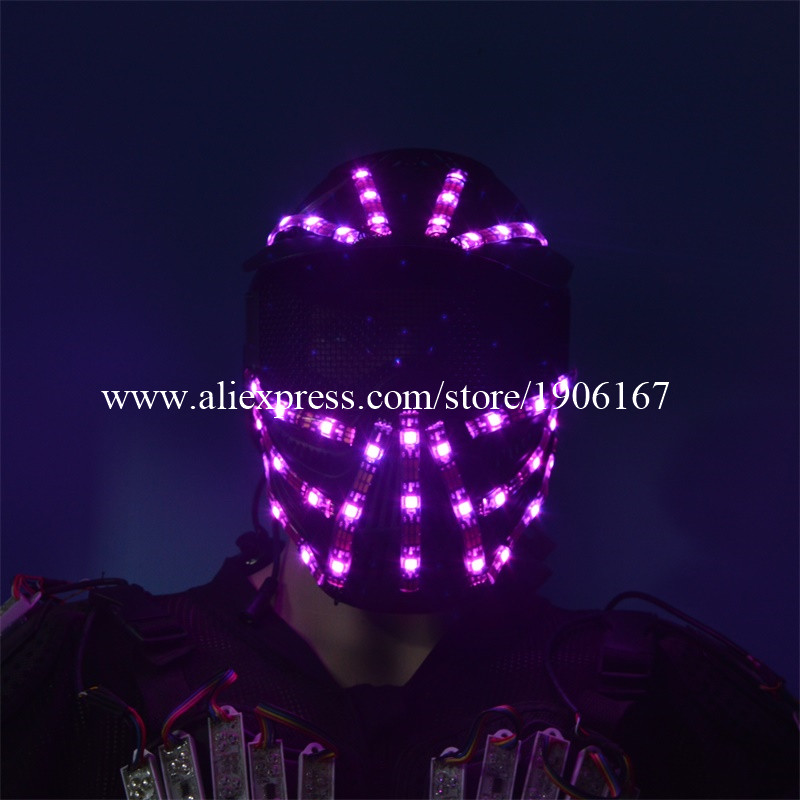 RGB Colorful <font><b>LED</b></font> Luminous Robot <font><b>Helmet</b></font> <font><b>Led</b></font> Growing Light Up Flashing Stage Headwear For Dancing Bar <font><b>DJ</b></font> Party Halloween Christmas