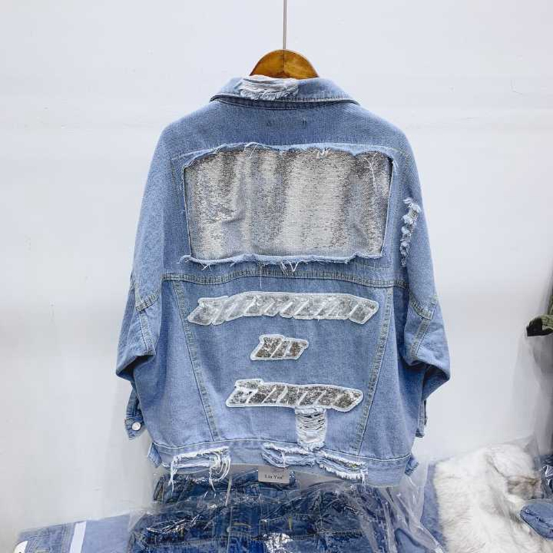 Trasporto Libero Blu Sexemara Del Giacca Allentato Jeans Di Ricamo Modo Nuovo Foro Paillettes Il qq4PO7f