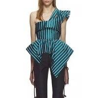 Women Backless Off Shoulder Striped Irregular Shirt Skew Collar Fashion Tunic High Waist Zipper Ruffles Blouses