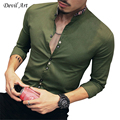 2017 New Fashion Casual Men Shirt Long Sleeve Stand Color Slim Fit Shirt Men Korean Business Mens Dress Shirts Men Clothes 5XL