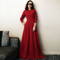 High Quality New Women Spring Autumn Brief Elegant Slim Long Sleeve Pocket Ultra Long Red Oversized