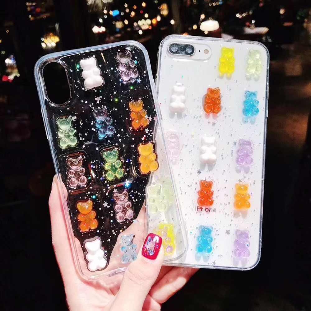 Glitter Candy jelly 3D Cute bear Soft TPU Case for iphone X XS XR XS MAX 9e5f320c4be2