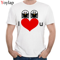 YOYLAP New Lovers Design Summer Short Sleeve T Shirts 100 Cotton Round Collar Mens Tops Shirt