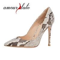 Amourplato Women S High Heel Animal Print Python Pumps Pointed Toe Snakeskin Pattern New Fashion Party