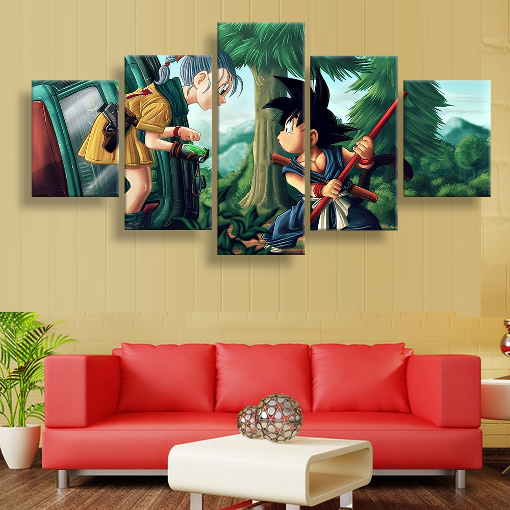 5 Piece HD Wall Art Picture Dragon Ball Z Bulma and Goku Oil Painting Poster for Living Room Decor 2