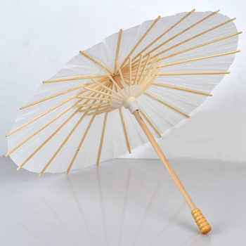 30pcs/lot Chinese Craft Paper Umbrella for Wedding Photograph Accessory Party Decor White Paper Long-handle Parasol - Category 🛒 Home & Garden