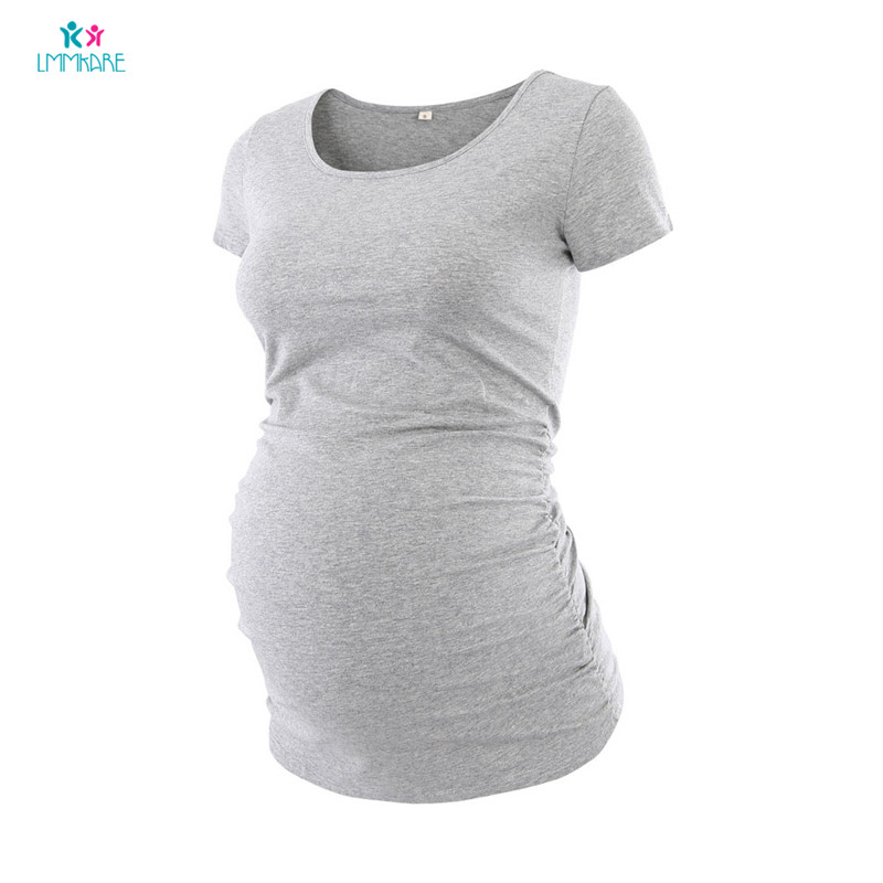 Summer Maternity Pregnancy T Shirt Cotton Solid Breastfeeding Short Sleeve for Pregnant Women Plus Size Maternity Clothes in Tees from Mother Kids
