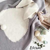 Novo cinza rosa dos desenhos animados xadrez orelhas de coelho crianças/bebê/crianças fio algodão malha cobertor lance cama sofá/ar mantas cobre