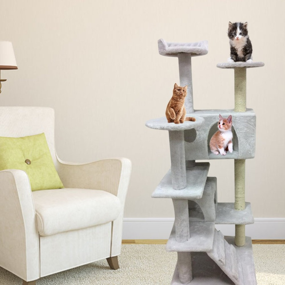 Фото Cat Jumping Toy with Ladder Scratching Wood Climbing Tree for Cat Climbing Frame Cat Furniture Scratching Post 130CM Funny Toys