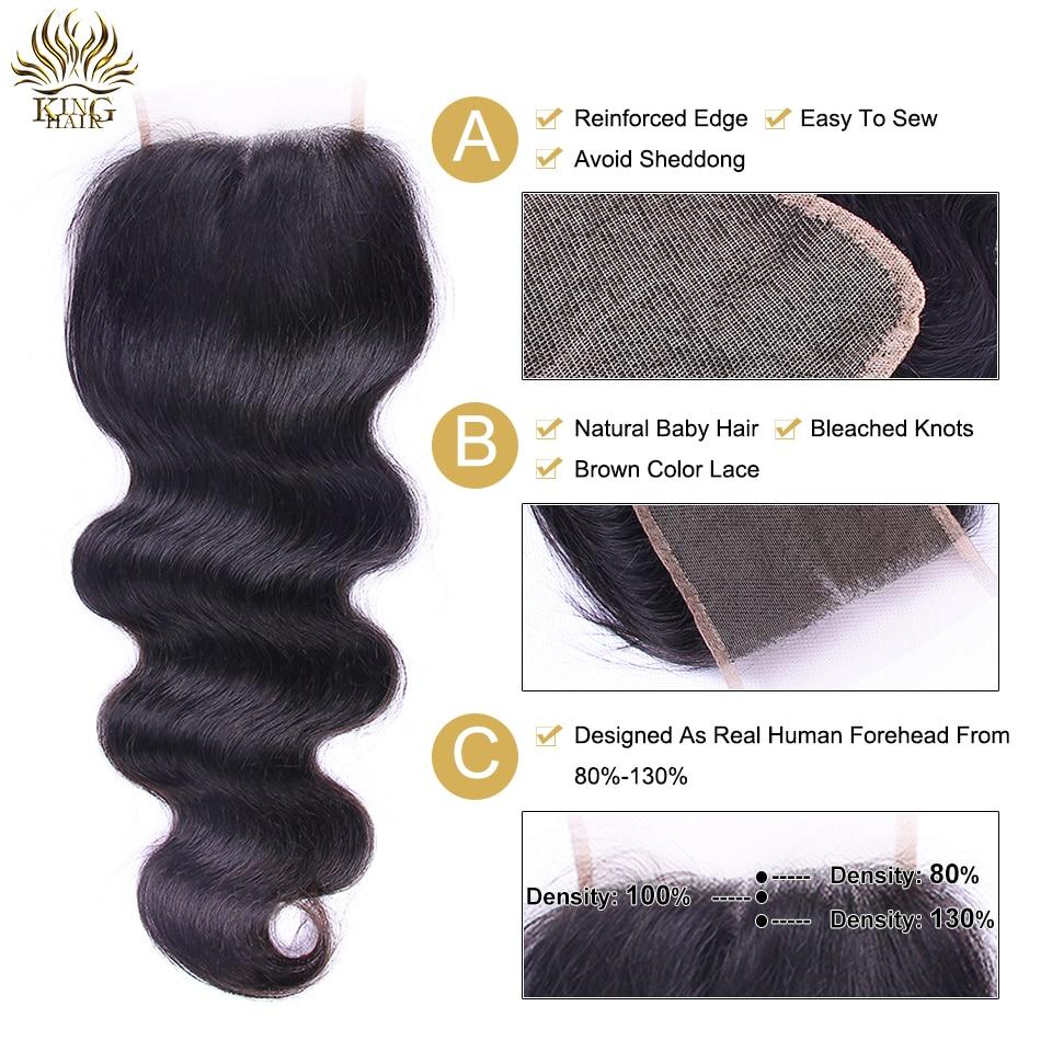 킹 머리 브라질 바디 웨이브 Remy 인간의 머리카락 3 - 인간의 머리카락 (검은 색) - 사진 5