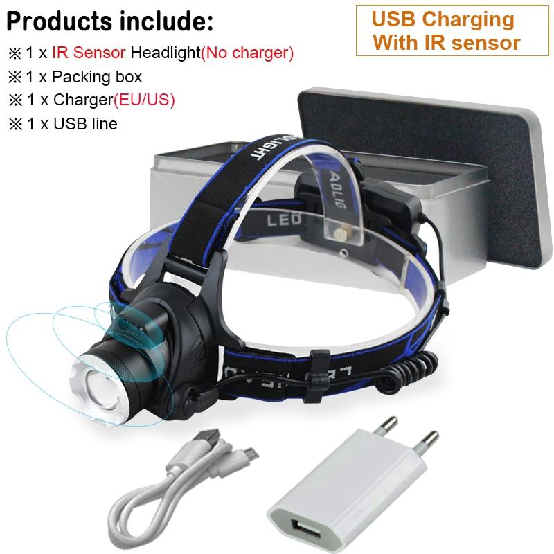 Cree USB Rechargeable Sensor Head Torch Light Waterproof LED Headlamp Headlight