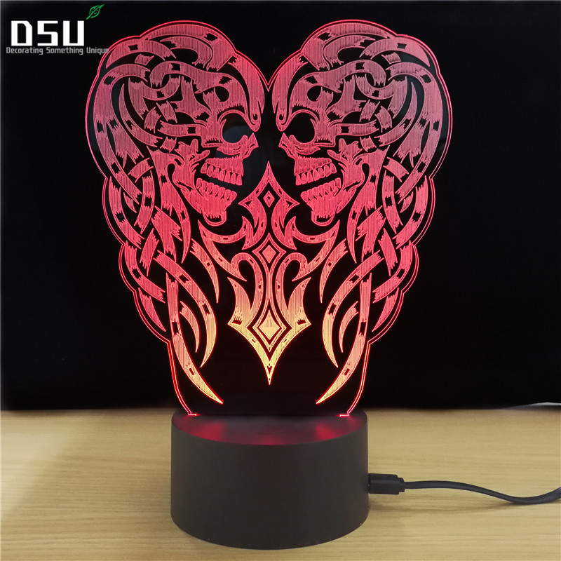 Skull 3D Led lamp Novelty Gifts 7 Colors Changing Led Night Lights Desk Table nightlight, Party, Holloween Gift Home Decoration