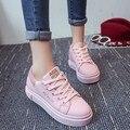 Один размер меньше, высокого качества женщин искусственная кожа туфли на платформе леди милый розовый осенние и зимние ботинки женские случайные улица обувь