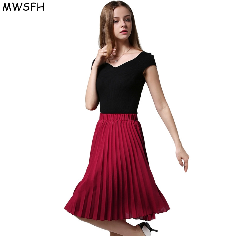 MWSFH Plus Size Vintage Skirt New Fashion 2017 Spring Casual Pleated Knee-length Midi Skirt Ball Gown Skater Women's Long Skirts