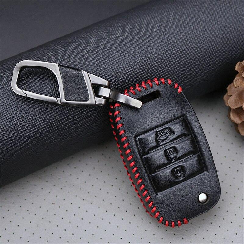 Cubierta de la caja de la llave del coche del cuero genuino para Kia - Accesorios de interior de coche - foto 2