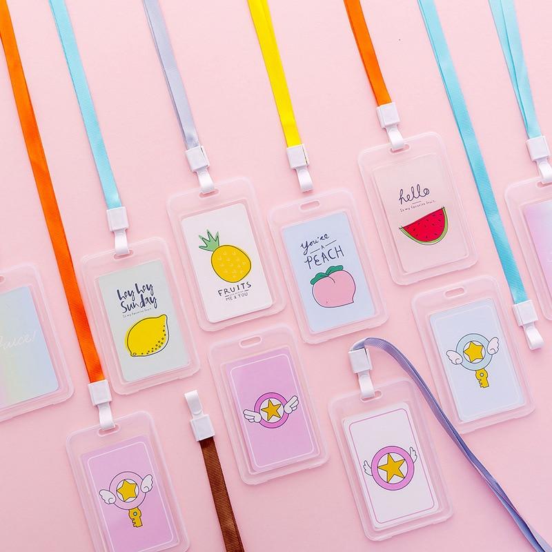 Cute Cartoon Fruit Lanyard Transparent Badge Card Bus Card Holder Simple Student Campus Card Protector