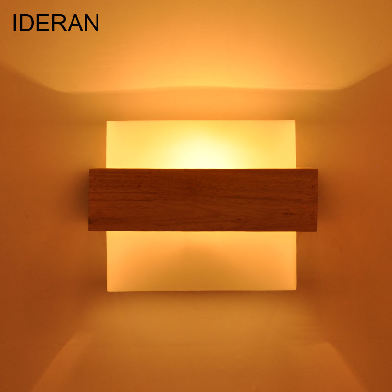 купить IDERAN Modern Sconce Wall Lamps Living Room Bedroom Home Decorative Wood Wall Lights E27 AC 110V/220V Nordic Style Wall Lighting по цене 2835.14 рублей