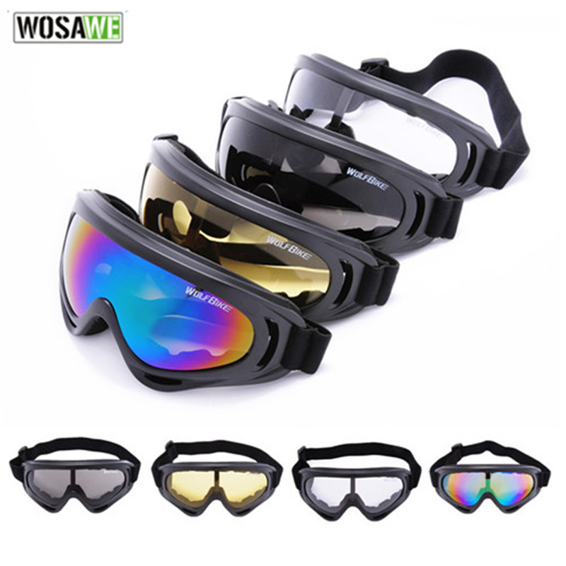 WOSAWE Windproof Outdoor Bike Cycling PC Lens large Frame Glasses Skiing Eyewear Snowboarding Protective Goggles Anti-scratch