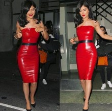 Top Quality Celebrity Red Black Strapless Knee Length Leather DressNight Club Party Sexy Dress