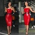 De Calidad superior Celebrity Strapless Longitud de La Rodilla de Cuero Rojo Negro Vestido de Partido Atractivo del Club DressNight