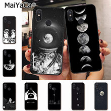 MaiYaCa Black With White Moon Stars Space Astronaut Phone Case for xiaomi mi 6 8 se note2 3 mix2 redmi 5 5plus note 4 5 5(China)