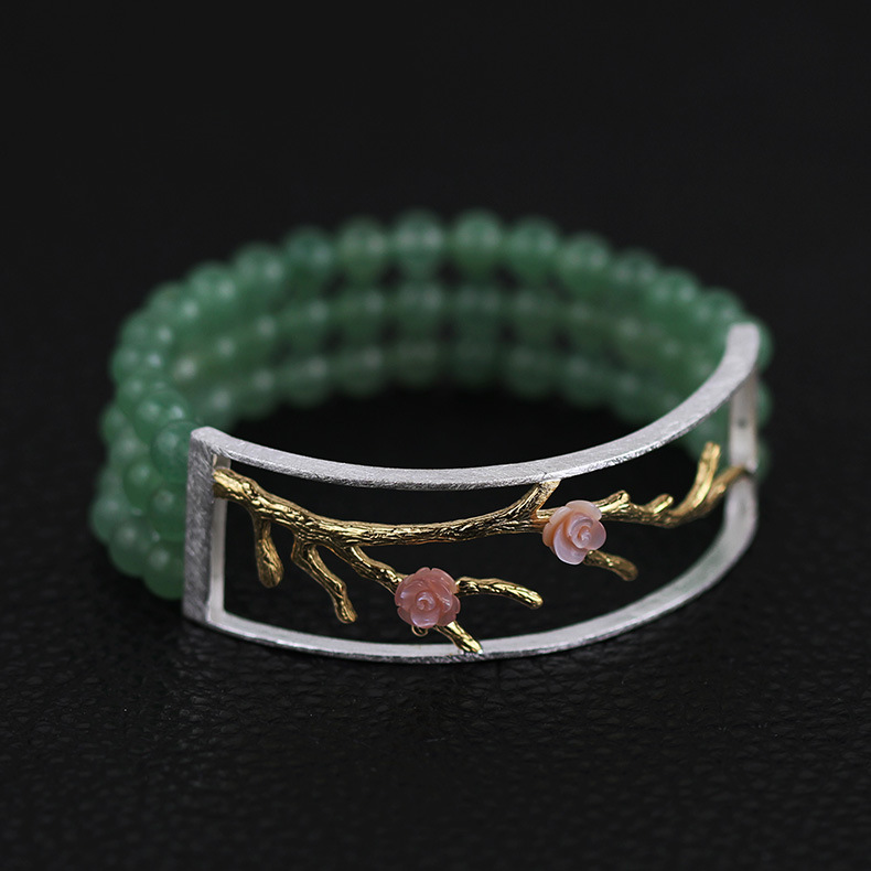 INATURE 925 Sterling Silver Green Aventurine Beads Vintage Pink Shell Flower Charm Bracelets for Women Jewelry