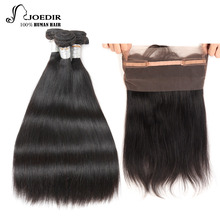 Joedir Pre-colored Brazilian Straight 360 Lace Frontal With 3 Bundles 1 Pack Human Hair Weave Bundles Remy Hair Free Shipping