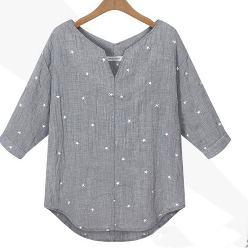 2018 Summer Autumn Pregnant Women Blouses Shirts Casual Loose V-Neck 3/4 Sleeve Blusas Tops Star Printed Maternity Clothings