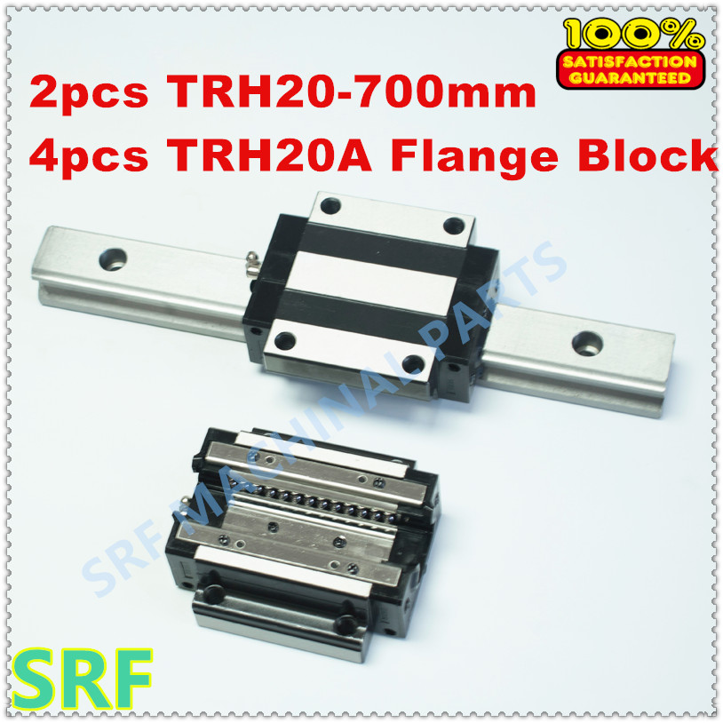 2pcs  Linear guide rail TRH20 L=700mm Linear rail + 4pcs TRH20A Flange block Bearing slide block for CNC tbi 2pcs trh20 1000mm linear guide rail 4pcs trh20fe linear block for cnc