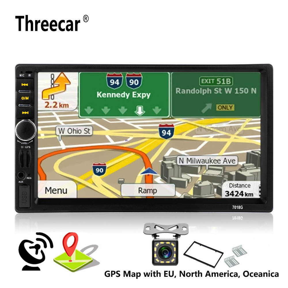 2 Din Car Multimedia Player+GPS Navigation+Camera Map 7'' HD Touch Screen Bluetooth Autoradio MP3 MP5 Video Stereo Radio 7018G ln 5127 7 hd double din capacitive touch screen car portable gps navigation quad core fm mp3 car stereo radio player with map