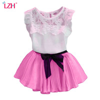 Newborn Baby Clothes And Girl Summer Two Piece Suit Bud Silk T Shirt Bowknot Belt Skirt
