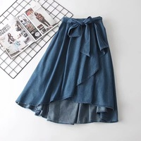 Japanese denim solid color Fresh sweet bow waist solid color A Line skirt mori girl 2018 autumn