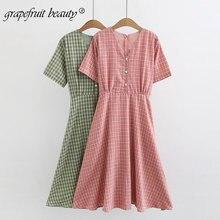 2019 womens dress fashion summer new Korean version loose retro plaid web celebrity high waist v-neck