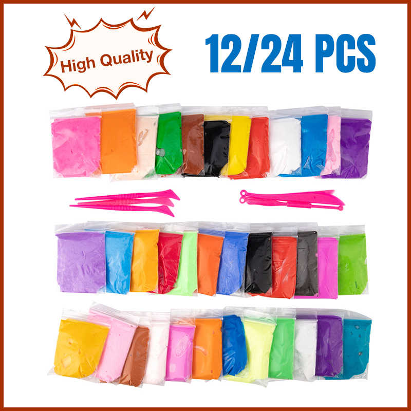 12/24 PCS Air Clay Soft Clay Polymer Clay Plasticine For Children Moldable Glue Pottery Tools Light Toy Modeling Soft Plasticine