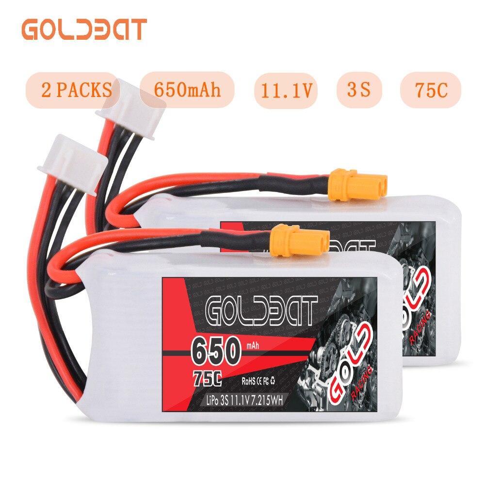 2 unités GOLDBAT 650 mAh LiPo batterie pour FPV 3 S LiPo batterie LiPo 11.1 V 3 S lipo 75C avec prise XT30 pour Drone hélicoptère voiture bateau