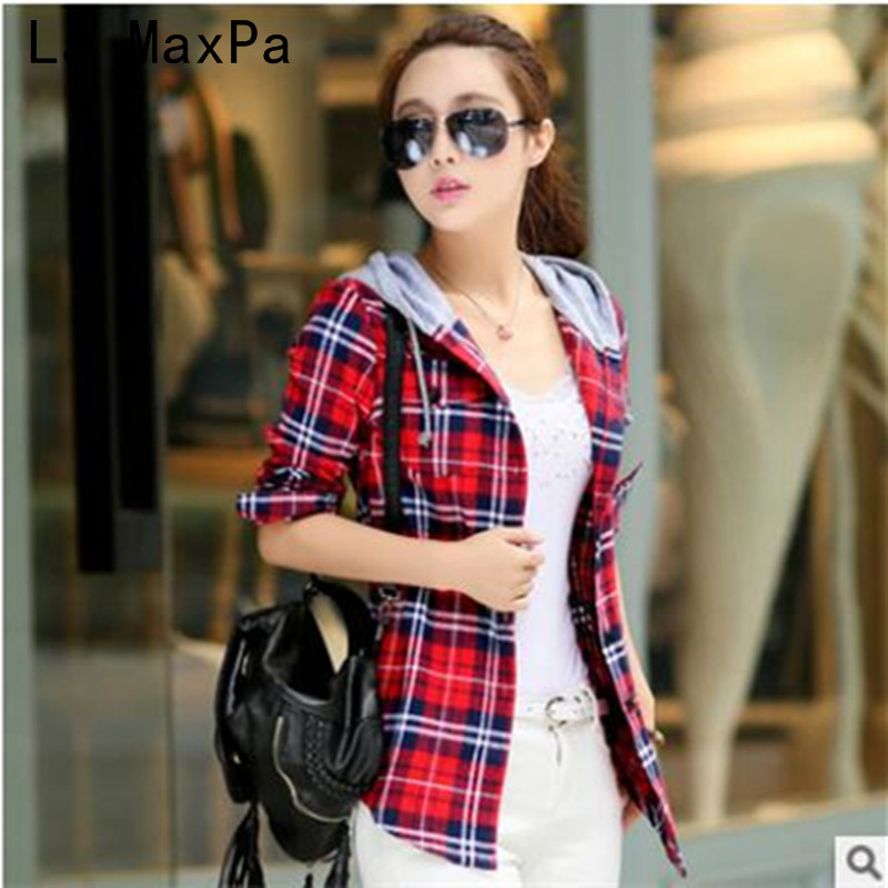 LA MAXPA New Arrival 2018 Autumn Cotton Long Sleeve Red Checked Plaid Shirt Women Hoodie Casual Fit Blouse Plus Size Sweatshirt