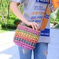 2015 Novo Estilo Verão Tecelagem de Palha Balde saco de Viagem Mulheres sacos Senhoras bolsa de Ombro Praia Rainbow Color bag Crossbody para mulheres