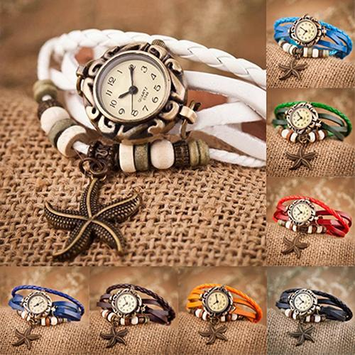 2015 hot Woman Girl Vintage Leather Bracelet Starfish Decoration Quartz Wrist Wa