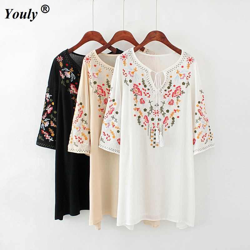 8dd119a71bb54 Floral Embroidery Tunic Dress Mexican Vintage Hippie Dress 2019 Women Loose  Casual Cotton Boho Mini Beach