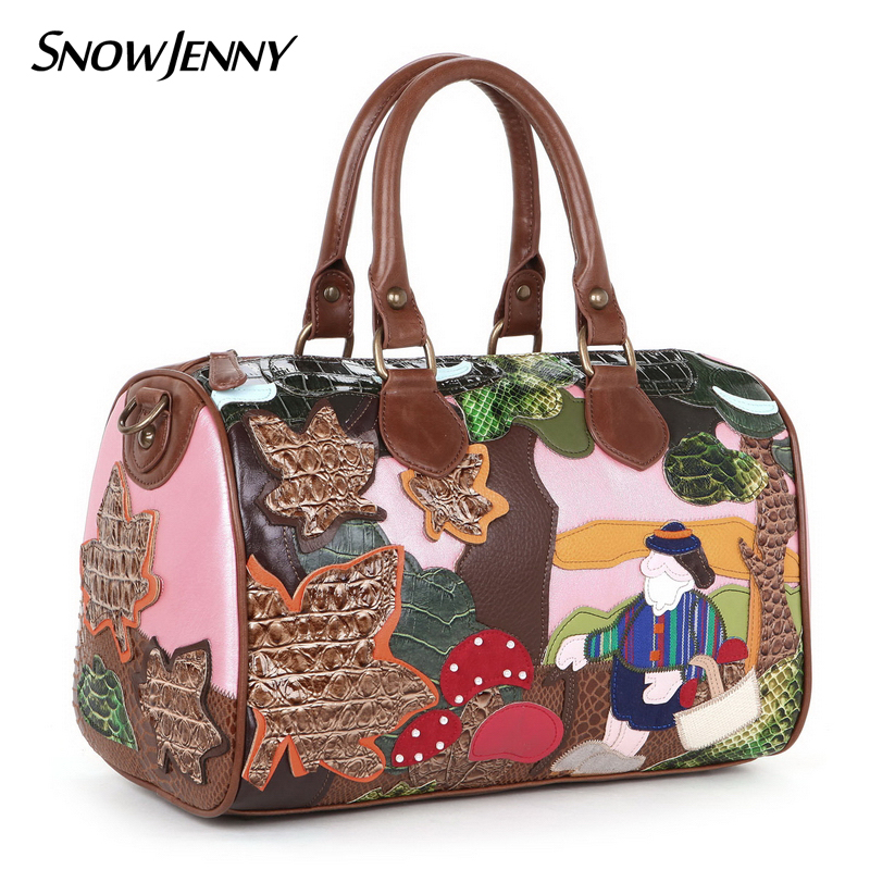 Women Shoulder Bags Leather Patchwork Embroidery Messenger Bag Handbags Totes Braccialini Cartoon Forest MushroomsWomen Shoulder Bags Leather Patchwork Embroidery Messenger Bag Handbags Totes Braccialini Cartoon Forest Mushrooms