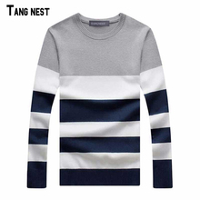 TANGNEST Plus Size Pullover 2017 New Arrival Men's Fashion Striped Simple Soft Pullover Male Casual Easy Match Sweaters MZL427