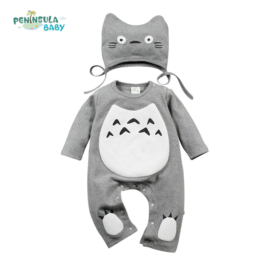 Spring Autumn Baby Romper Jumpsuit Cotton Long Sleeve Infant Clothing With Hat Character Cartoon Totoro Baby Boys Girls Clothes spring autumn newborn baby rompers cartoon infant kids boys girls warm clothing romper jumpsuit cotton long sleeve clothes