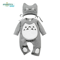 Spring Autumn Baby Romper Jumpsuit Cotton Long Sleeve Infant Clothing With Hat Character Cartoon Totoro Baby Boys Girls Clothes