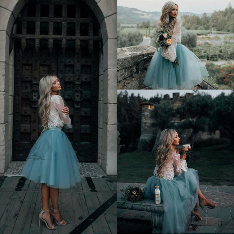 2017 White and Mint Lace Two Pieces Long Sleeve Short Prom Dress Illusion Boho Party Gowns Graduation Trendy Evening Gowns Cheap