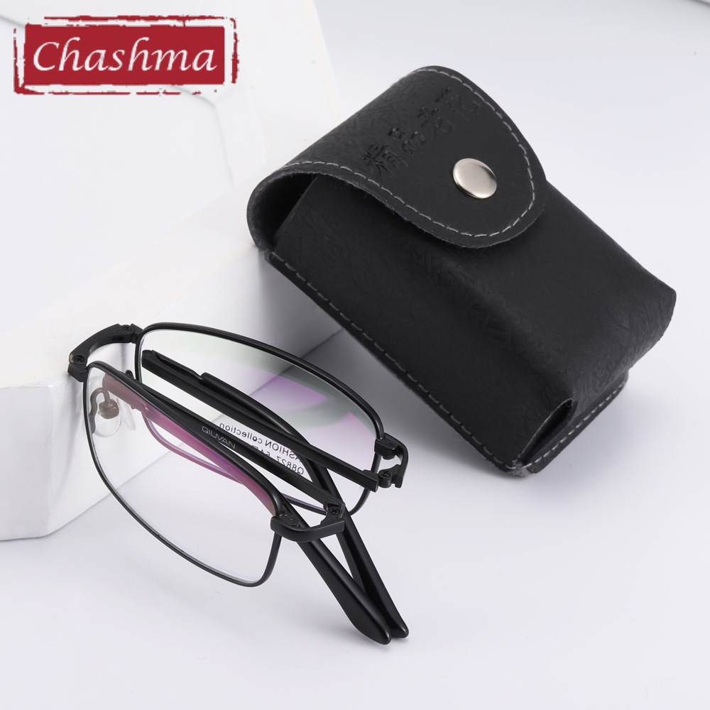 Foldable Optical Glasses Frame Prescription Eyeglass Men Anti Blue Ray Computer Working Folding Reading Glasses With Case