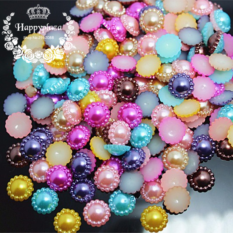 Arts,crafts & Sewing 100pcs Mix Colors 12mm Half Round Abs Imitation Pearl Beads Fake Sunflower Flat Back Scrapbook Craft Diy Jewelry Findings Buttons