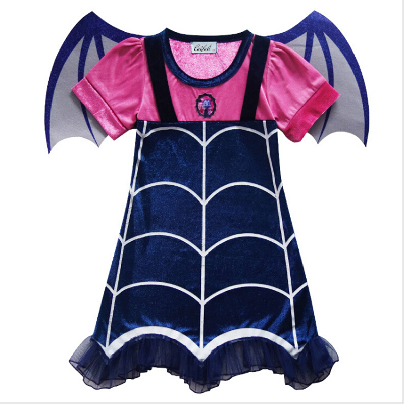 2018 Princess Summer Dresses Girls Vampirina Cosplay Costume For Children Kids Xmas Birthday Party Tutu Moana Dresses Fantasy